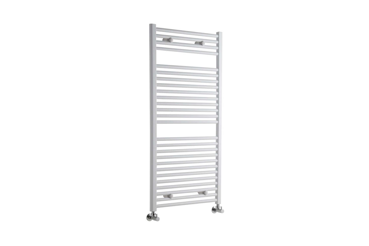 For a similar wall-mounted towel warmer, the Etna Hydronic White Heated Towel Warmer measuring 47.25 by 23.5 inches and available with angled or straight valves; $289.95 at Hudson Reed.