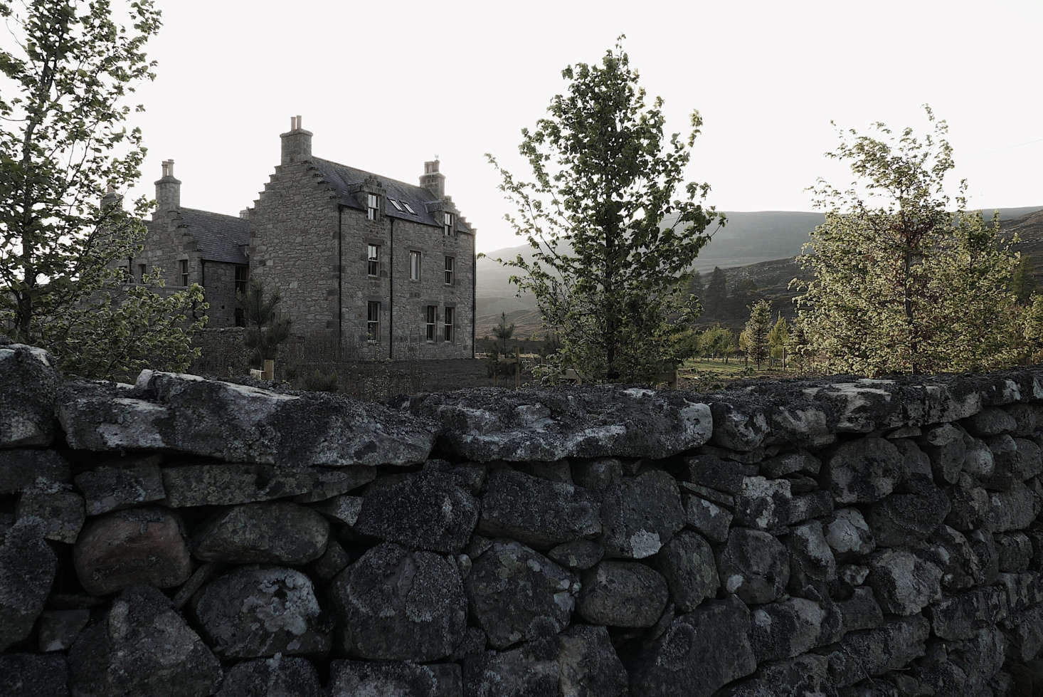 Gairnshiel Lodge was built in 1746 where the River Gairn and River Dee meet. Ballater in the Cairngorms National Park is the nearest village.