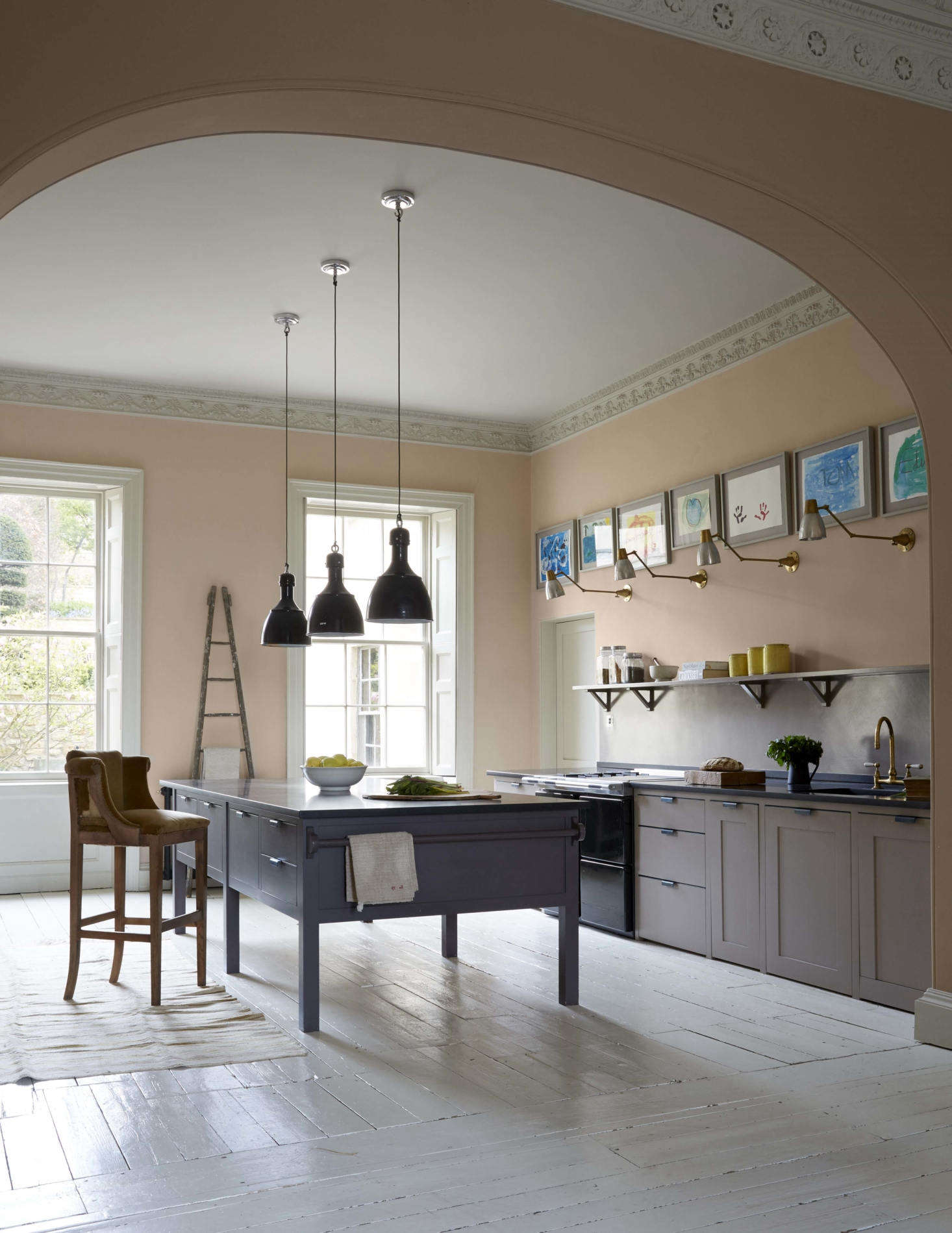 An Eggshell Estate Emulsion Finish Of Farrow Ball Pink Is On The Walls