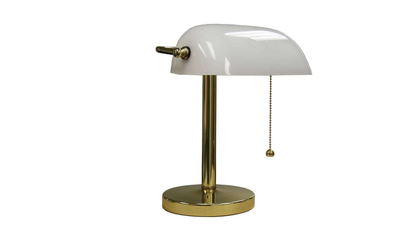 The 12.5-inch Gold Banker's Lamp with brass finish is$56.59 from Home Depot.