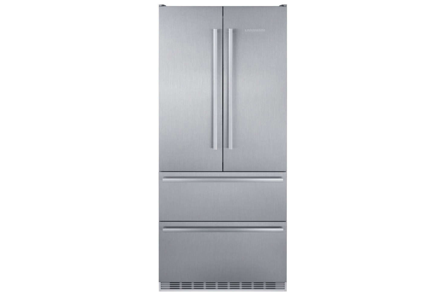 The Liebherr 36-Inch Counter-Depth 4-Door French Door Refrigerator (CBS2082) is the most shallow on our list at 24 inches deep. It's $6,419 at AJ Madison. Also available is the Liebherr 36-Inch Counter Depth Bottom-Freezer Refrigerator (CS2080) with a single door and two lower drawers is $5,349 at AJ Madison.