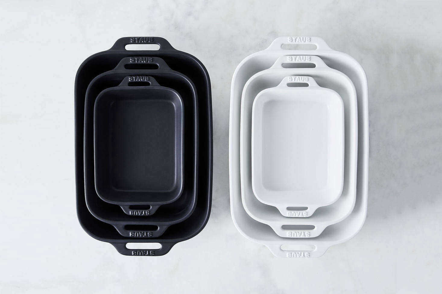 The Staub Matte Ceramic Rectangular Baking Dish, available in Matte Black or Matte White, is $49 for a set of 2 at Food52.