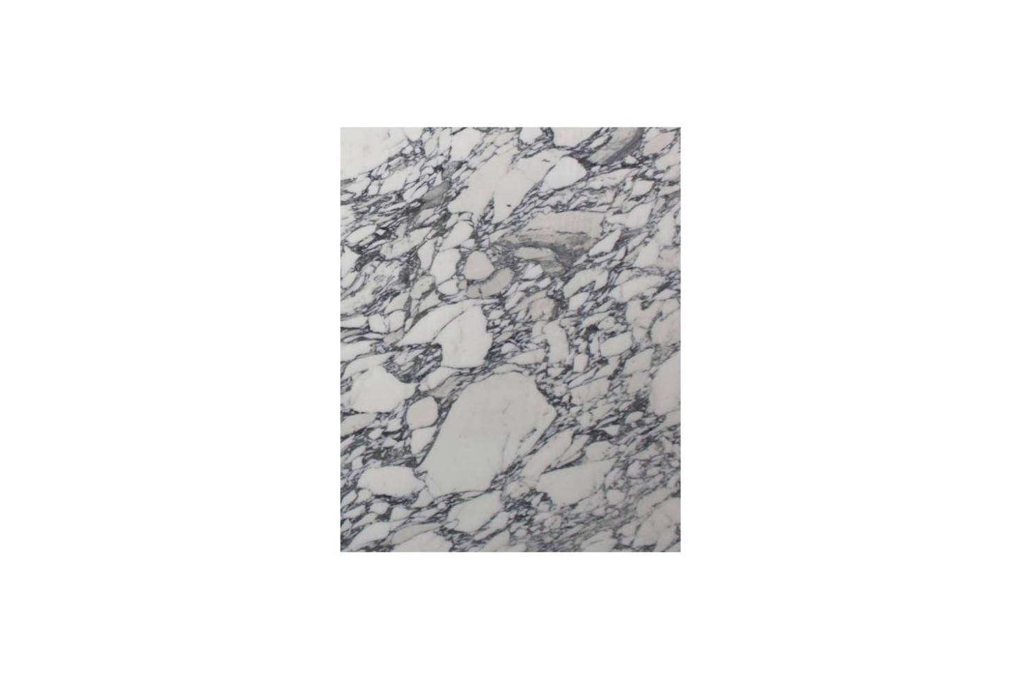 O backsplash atrás da bacia é projetado com mármore Arabescato.  Para algo semelhante com veios escuros, a Tristone & Tile da Califórnia oferece o Arabescato Corchia src =