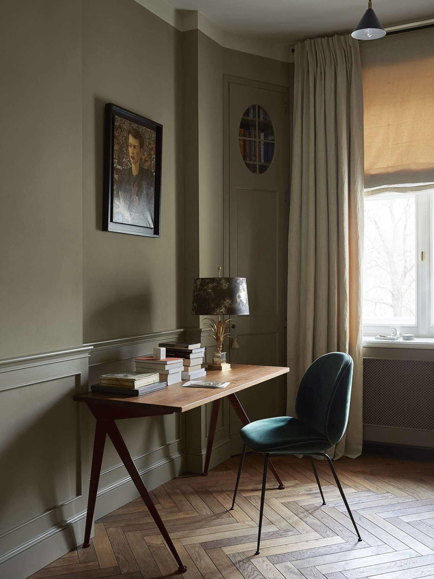 On the walls, a moody Mouse's Back by Farrow & Ball.