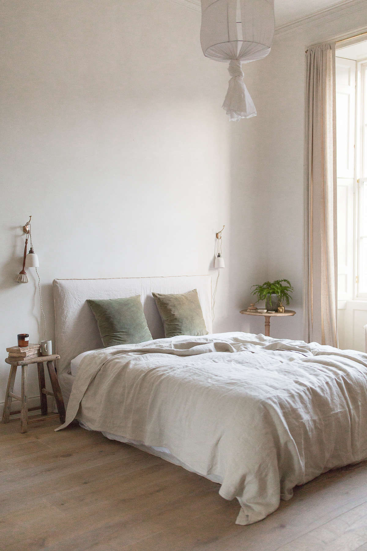 "The walls are limewashed in a warm neutral. ""The process is easy and very forgiving,""  Nina told Margot. ""The effect achieved depends on the brushstrokes you use: you can get an almost solid color or more of a plaster look."""