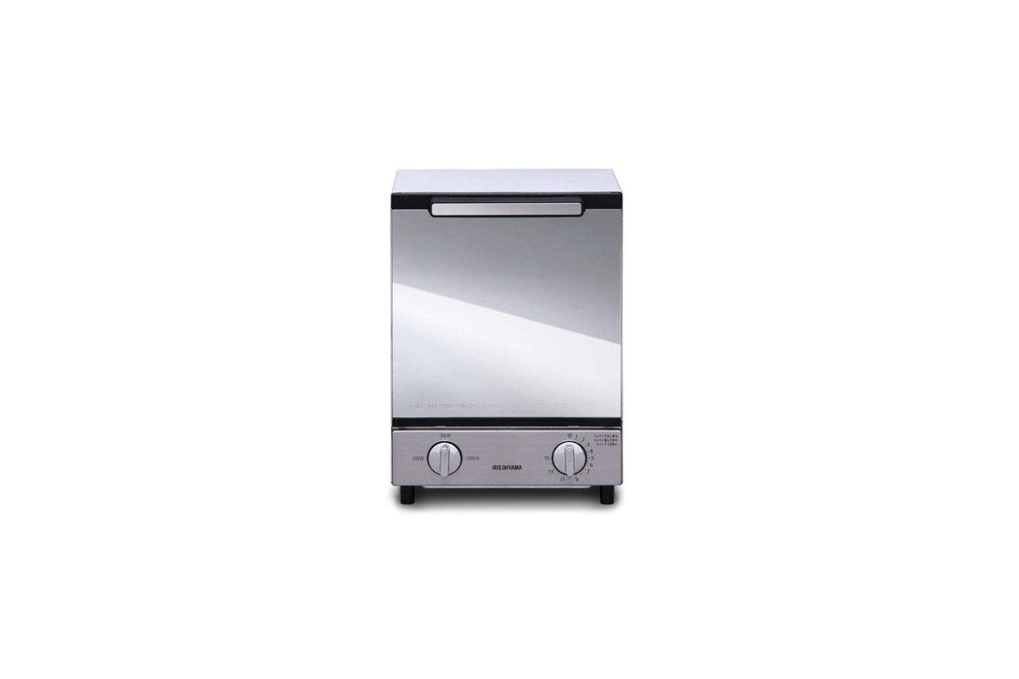 The Iris Ohyama Mirror Oven Toaster Vertical Type is made of powder coated steel with a mirrored glass door. It measures about 7.5 inches wide; $98.39 on Amazon. (Power supply AC 0 V 50/60 Hz.) It can also be sourced through Sano Shop out of Japan.