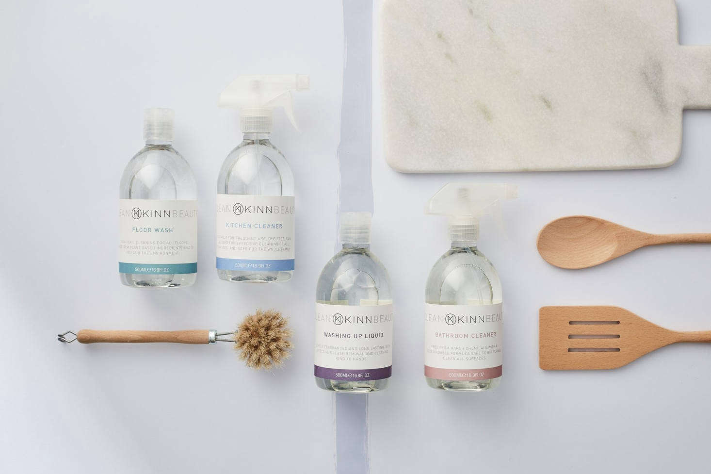 Our latest discovery: UK-based Kinn, a clean beauty, cleaning, and laundry company from a mother-daughter team. Their Eco-Friendly Lavender and Rosemary Kitchen Cleaner, for example, is made of plant-based ingredients and essential oils (as the duo says: &#8