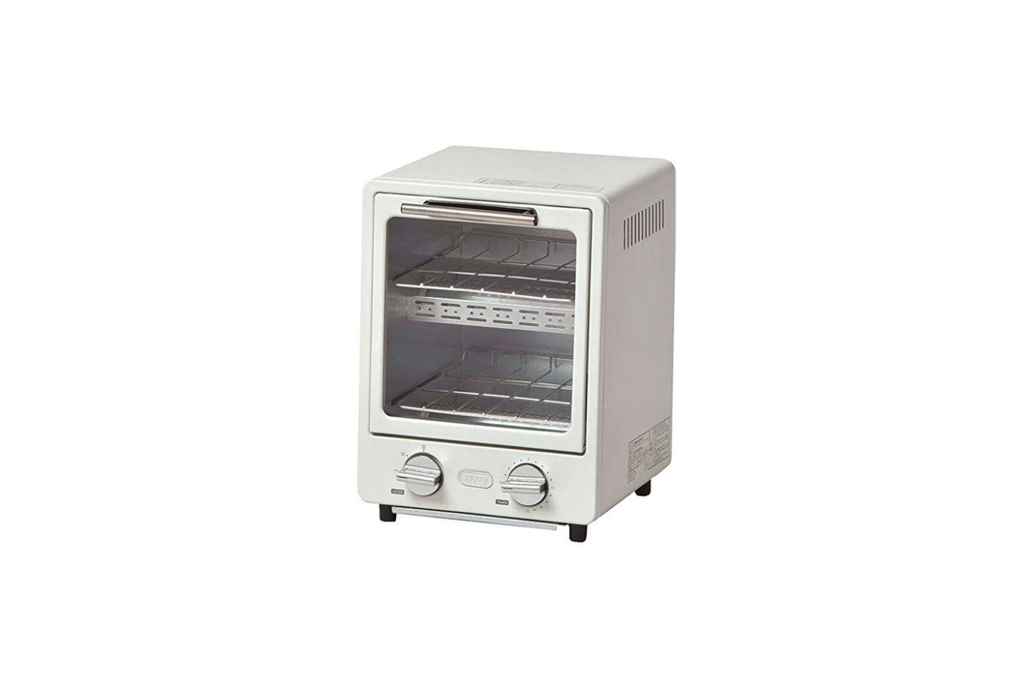 The Radonna Oven Toaster comes in three colors (Ash White, shown; Blue; and Shell Pink) and has a slanted front/trapezoid shape. It measures 9.5 inches wide by about  inches high for $3.73 from sellers on Amazon. It can also be sourced through Sano Shop out of Japan. (Power supply AC 0 V 50/60 Hz.)