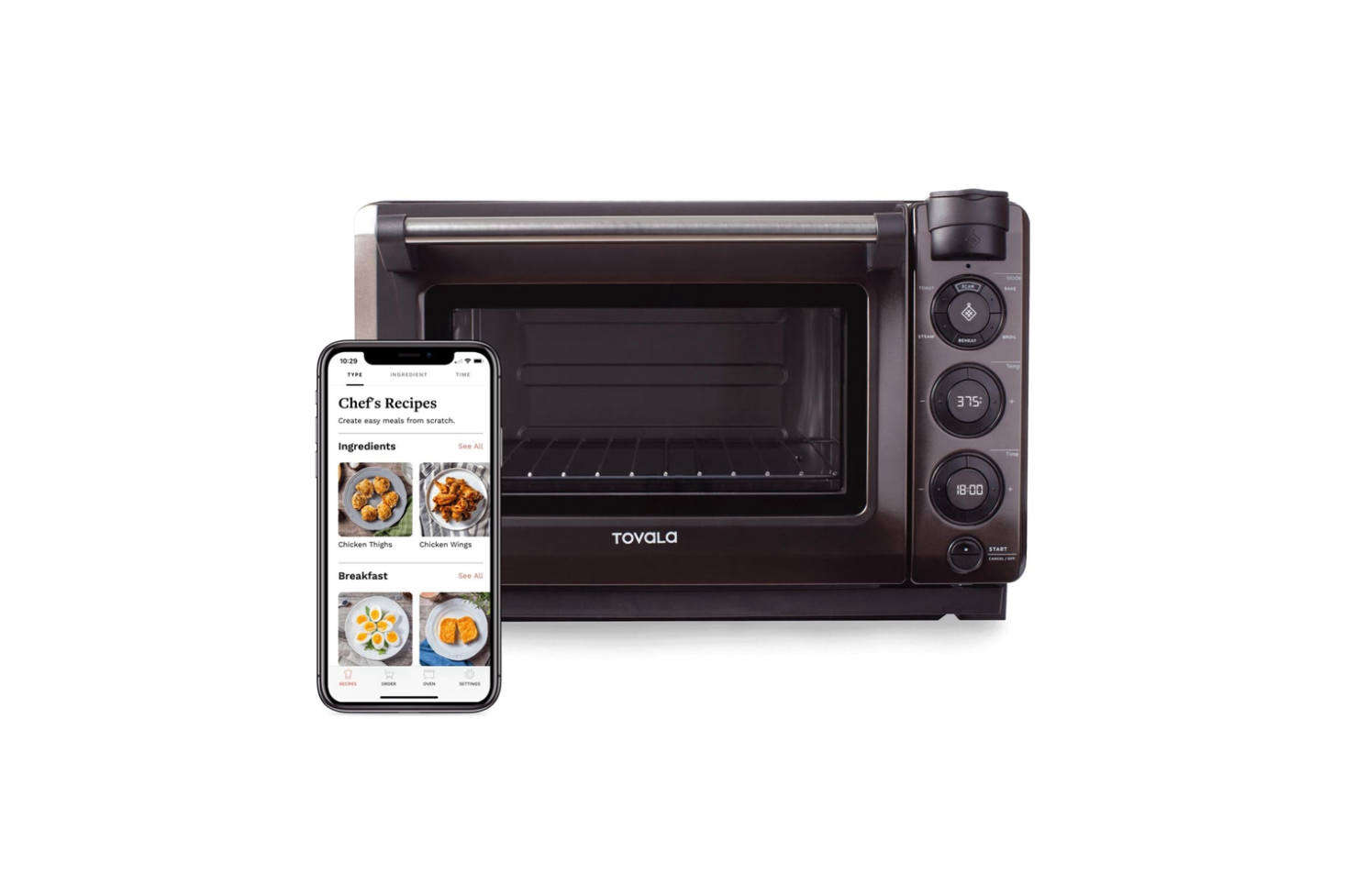 The Tovala Steam Ovenhas a barcode scanner, which allows you to scan items you bought at the grocery store, or meal kits purchased through Tovala and let the oven do the heating, timing, and cooking. The oven is $349, and includes the option for an accompanying meal kit subscription.
