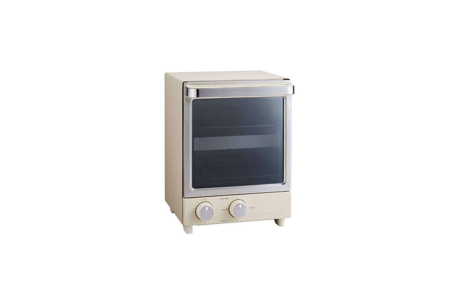 The Vitantonio Vertical Type Toaster Oven, shown in Ivory (also available in Brown) measures  inches wide and  inches high; $8. on Amazon. (Power supply AC 0 V 50/60 Hz.)