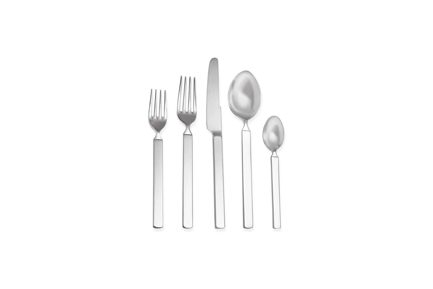 """Designed by Achille Castiglioni for Alessi in 1982, the Dry Line Cutlerycollection is designed with flat steel bars as handles and matte finish stainless steel. It has been described as """"the reinterpretation of classic Italian tableware in a contemporary key."""" The 5-piece set is $62.95 at the MoMA Design Store."""