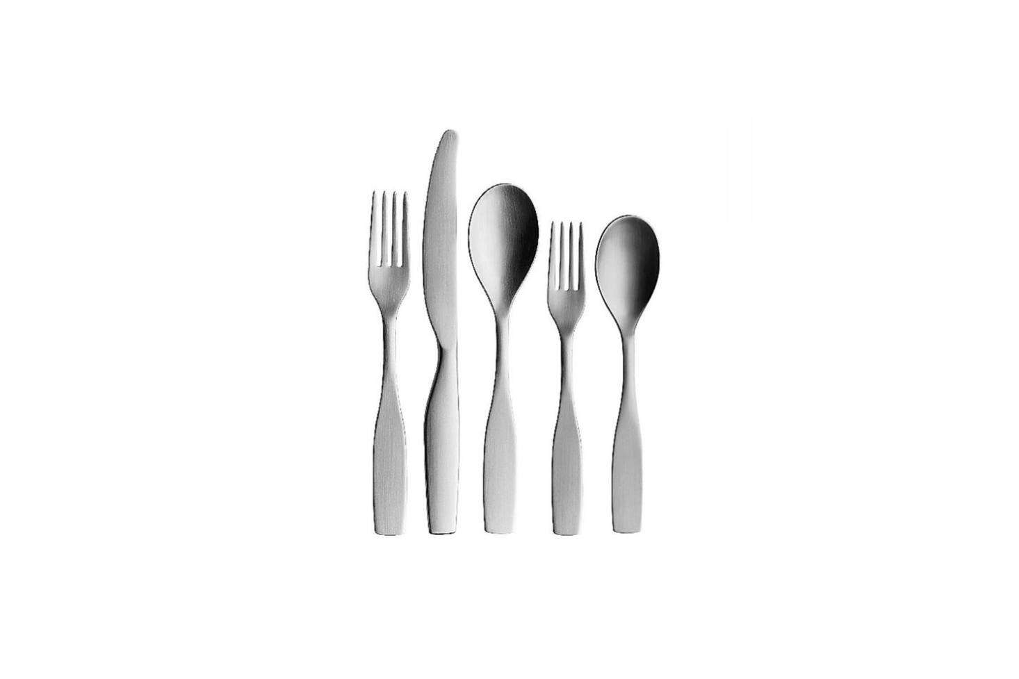 The Citterio 98 5-Piece Place Setting is part of the 1998 collection by Italian designer Antonio Citterio for Iittala. Each piece is intended to rest neatly in the palm of the hand while in use; $85 for the set at YLiving.