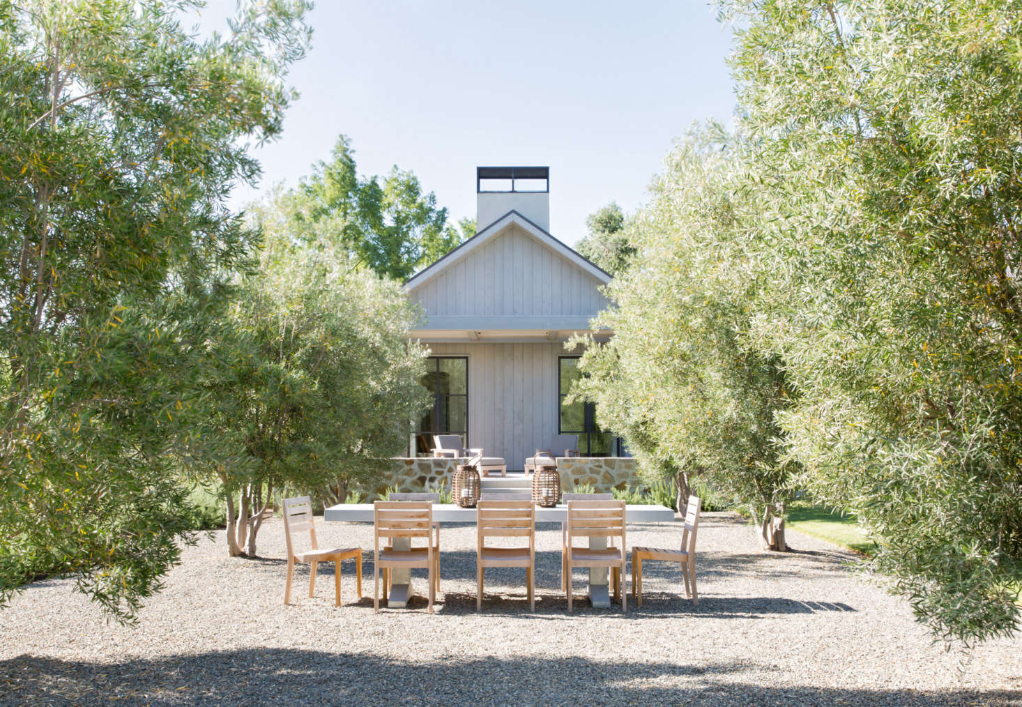 A gravel courtyard, for long, unhurried outdoor dinners.