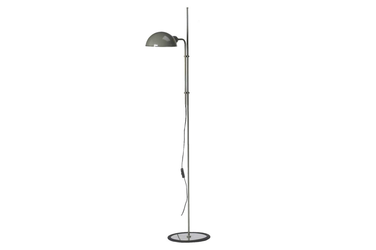 The Marset Funiculi Floor Lamp, shown in grey, is a design classic from 1979 with a funicular up-and-down movement designed by Lluís Porqueras; $245 at Finnish Design Shop.