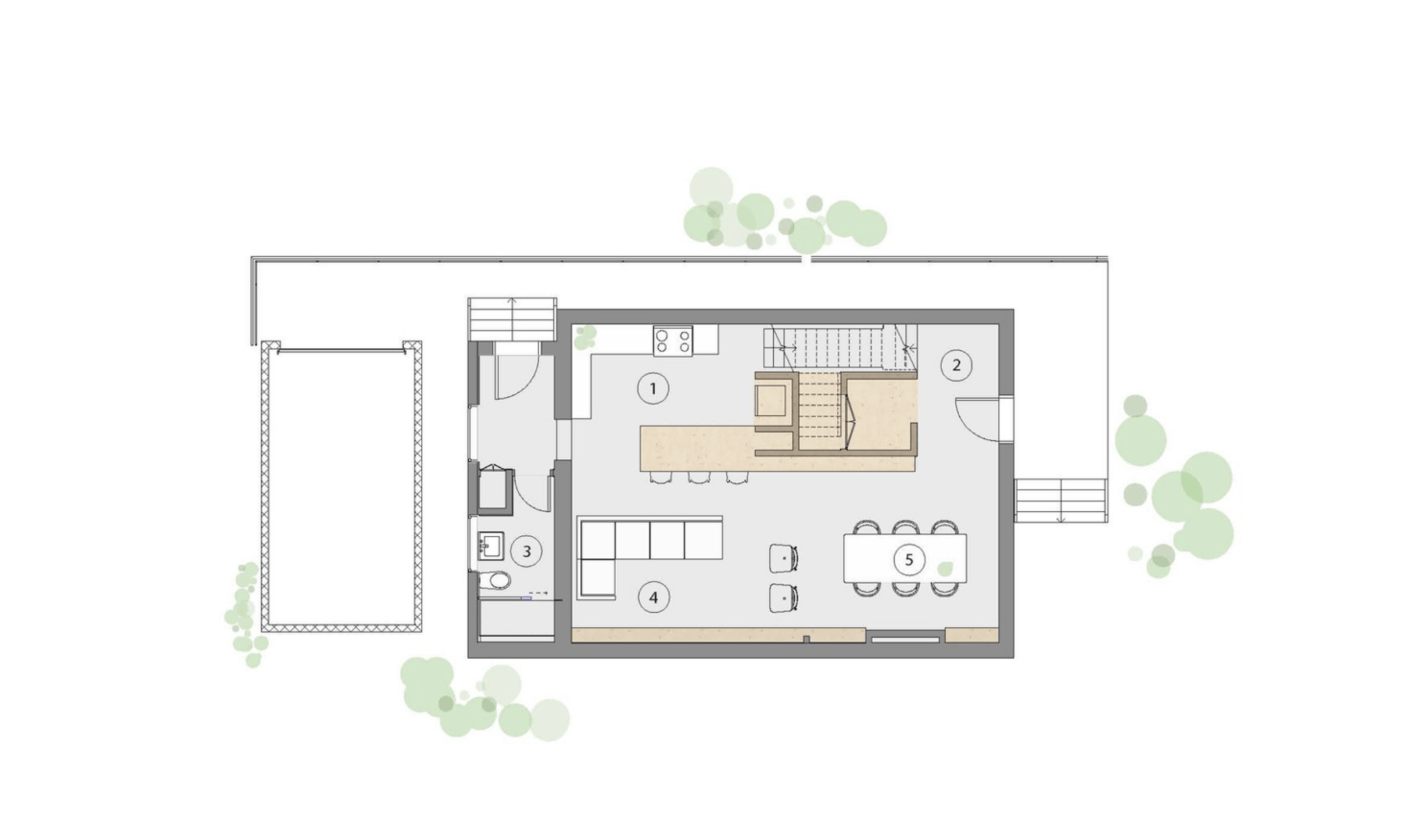 Studio AC was tasked with remodeling a 1,500 square foot two-story house. The ground floor, shown here, has a dining and living area that surround the central kitchen/stair volume.