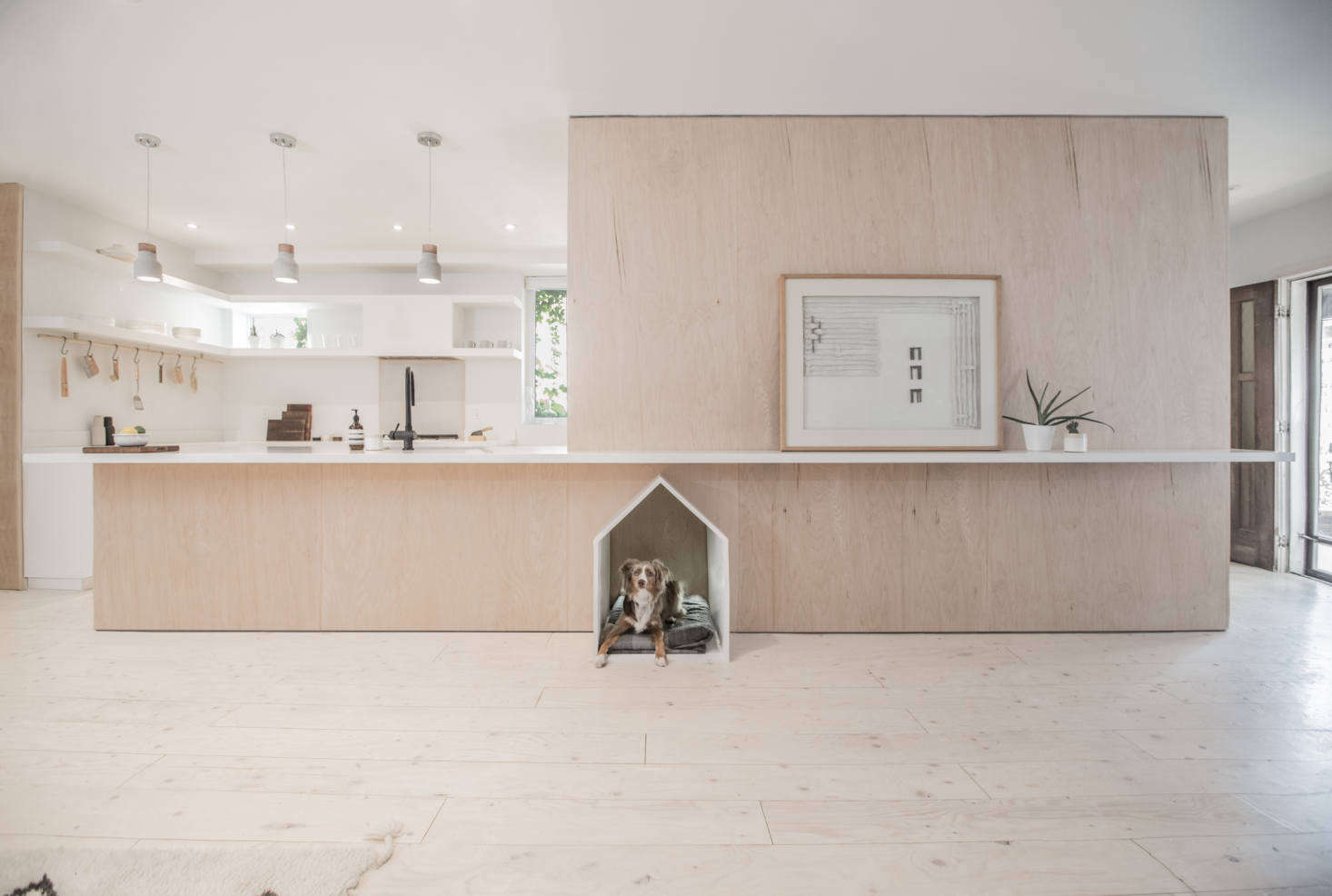 """""""Rather than imagine a home comprised of rooms within an open plan, we conceived a room revolving around a singular mass,"""" write the architects. """"The mass provides the aesthetic grounding for the project while also containing all of its support functions in a clean plywood wrapper."""""""