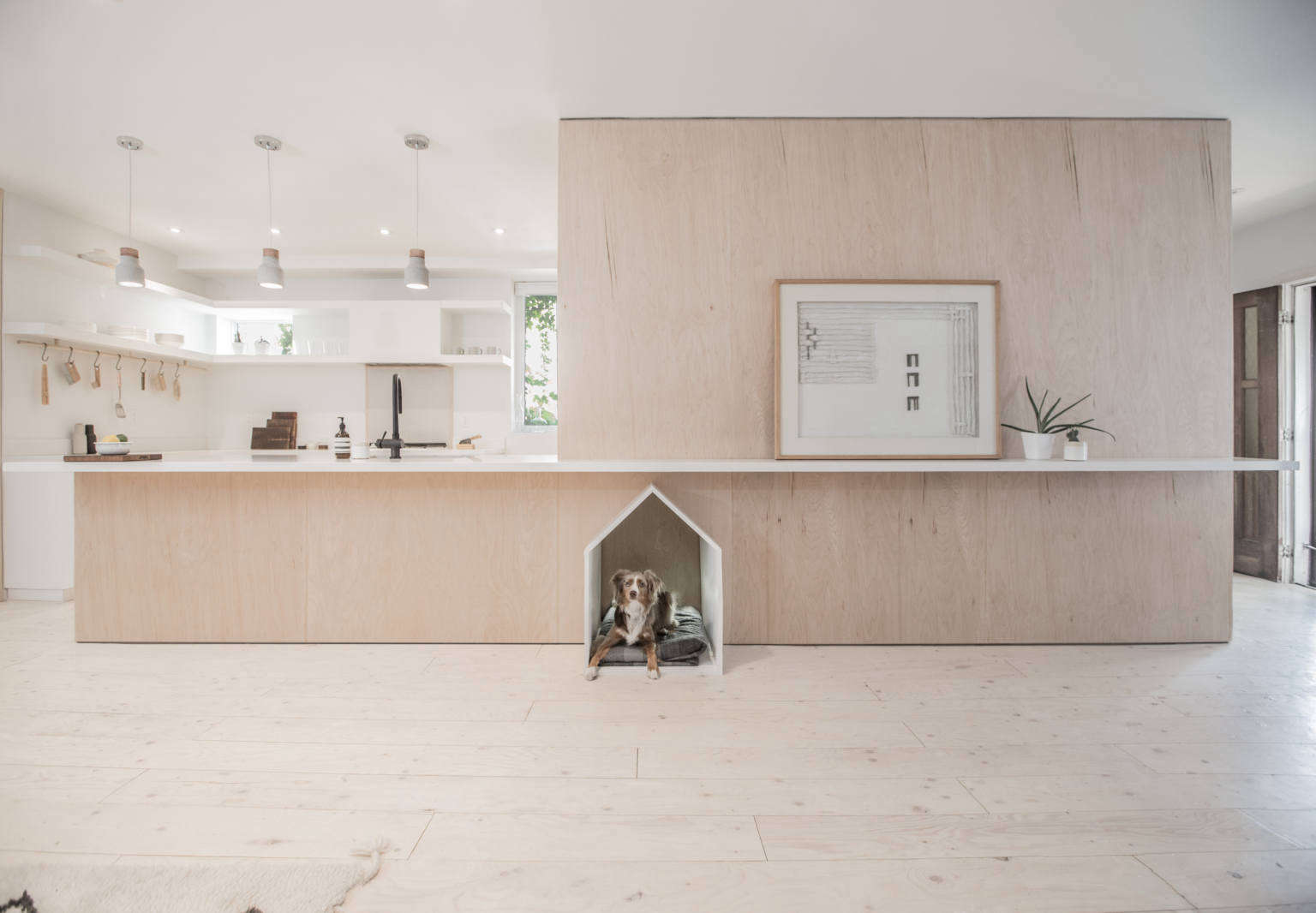 Cabinet D Architecte Nice an open kitchen design with a built-in dog house, ikea