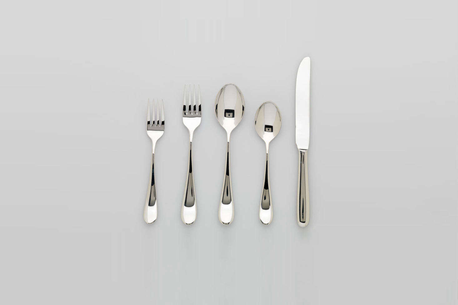 While it's no longer in production, Massimo and Lella Vignelli's Sasaki Basic Flatware set is worth a mention (you can still find pieces or full sets on Replacements or eBay). It was designed by the duo in 1987 for Japanese company Sasaki. Photograph from the RISDI Museum. You can also find the set among our picks in 10 Easy Pieces: Everyday Stainless Steel Flatware.