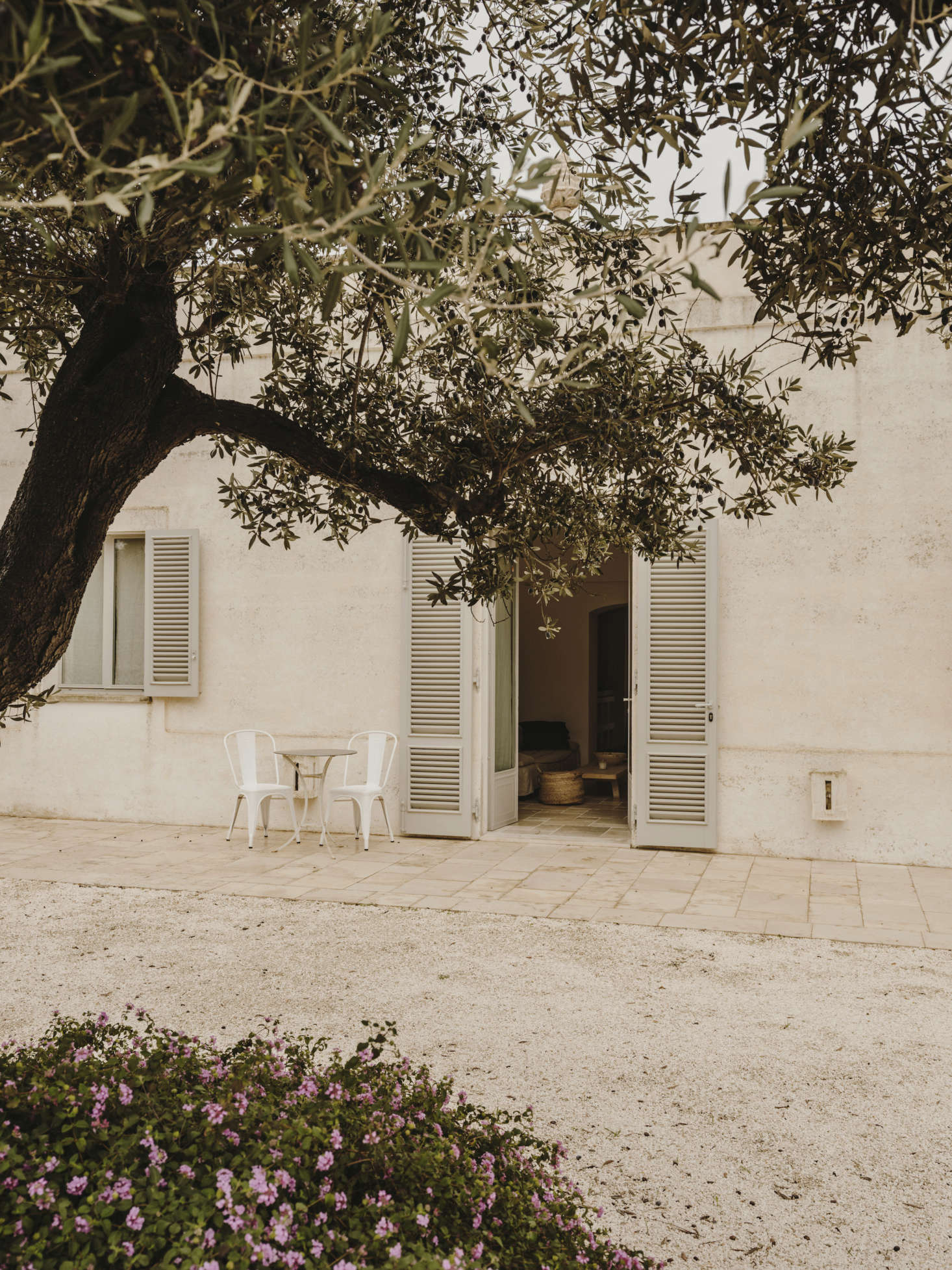 """The 1920s-era villa has been transformed by Studio Andrew Trotter with """"local materials, traditional building methods, and details from the local architecture, resulting in a three-bedroom, three-bathroom house that fits perfectly within the olive trees, a real Italian vernacular."""" Double doors open outwards onto the gravel patios."""