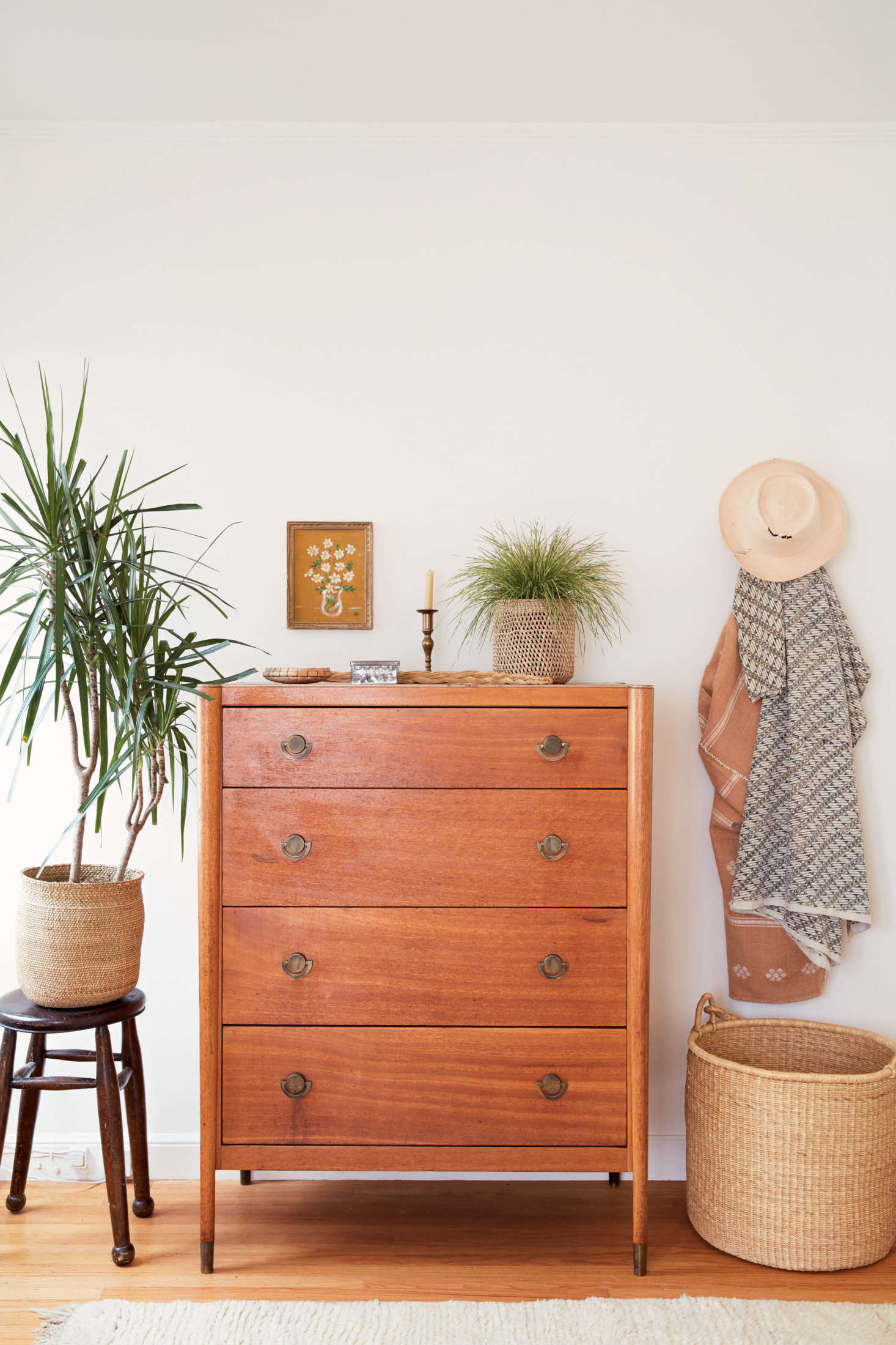 """From the section on Nesting: a meditation on how, and from where, to source furniture, like this dresser, recently found at a flea market. It's """"not in perfect condition, which in Serena's book is a plus,"""" the couple writes."""