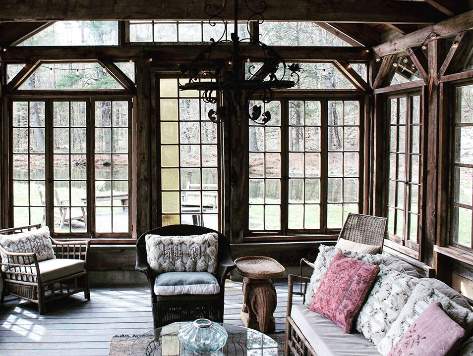 Located on  acres (complete with pond, lily pool, bonfire pits, and an outdoor pavilion) in Mount Tremper, New York, the Firefox Mountain House is filled with vintage items found in the Catskills. Photograph by Arden Wray, from Bohemian Mastermix: Foxfire Mountain House in the Catskills.