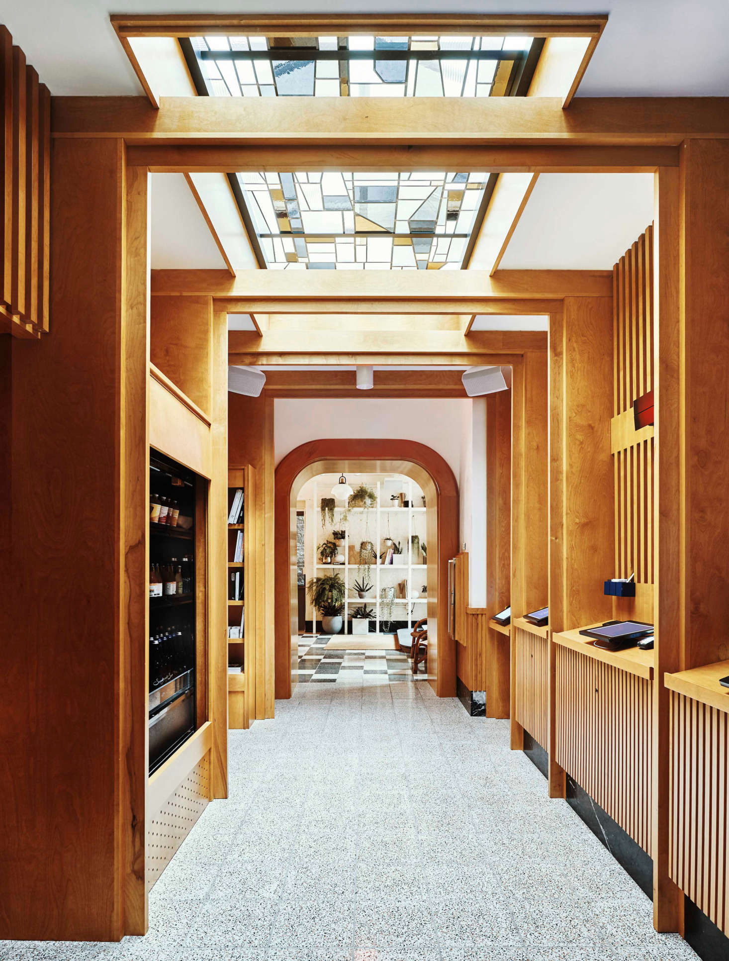 Above: The interior was inspired by Finnish saunas and Japanese bento boxes, the designers say.
