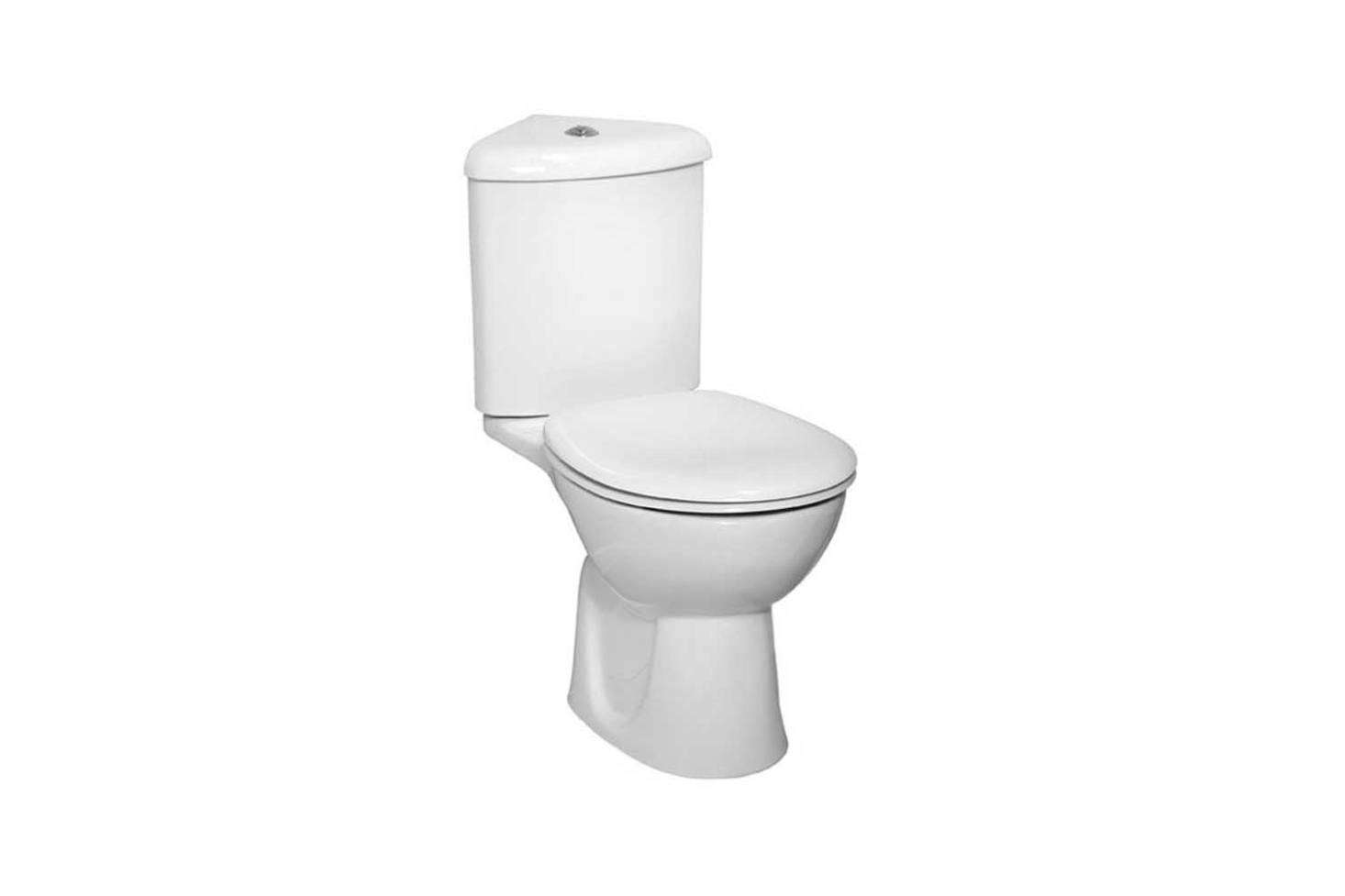 The Vitra Layton Corner Close Coupled Toilet with an open back is another model from Victorian Plumbing; it&#8