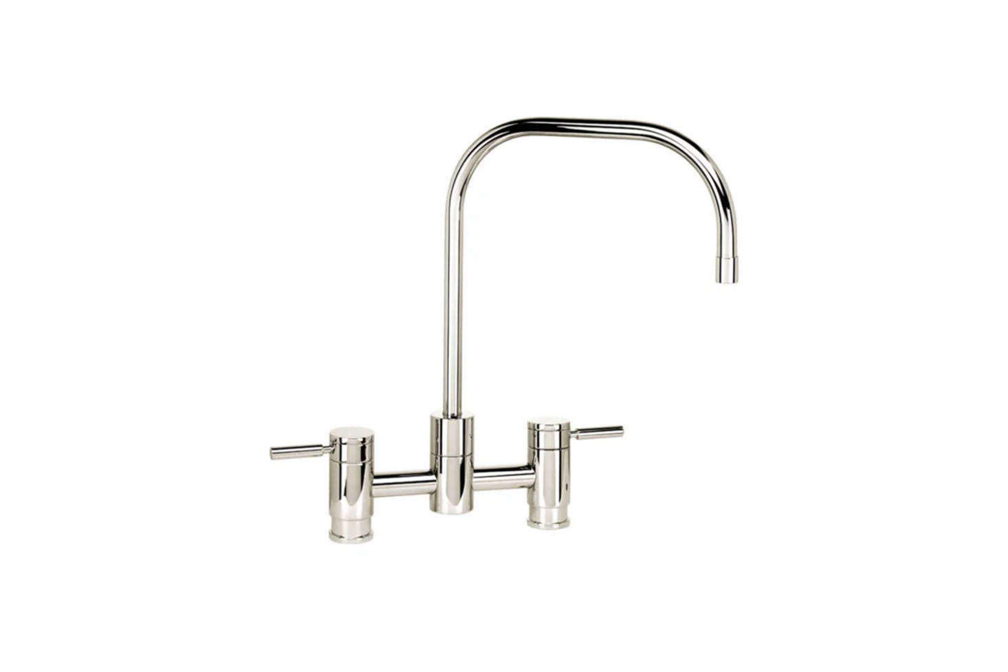The Waterstone Fulton Suite Bridge Faucet with Side Spray has a slender spout and comes in a whopping 31 different finishes; $1,725 at Quality Bath.