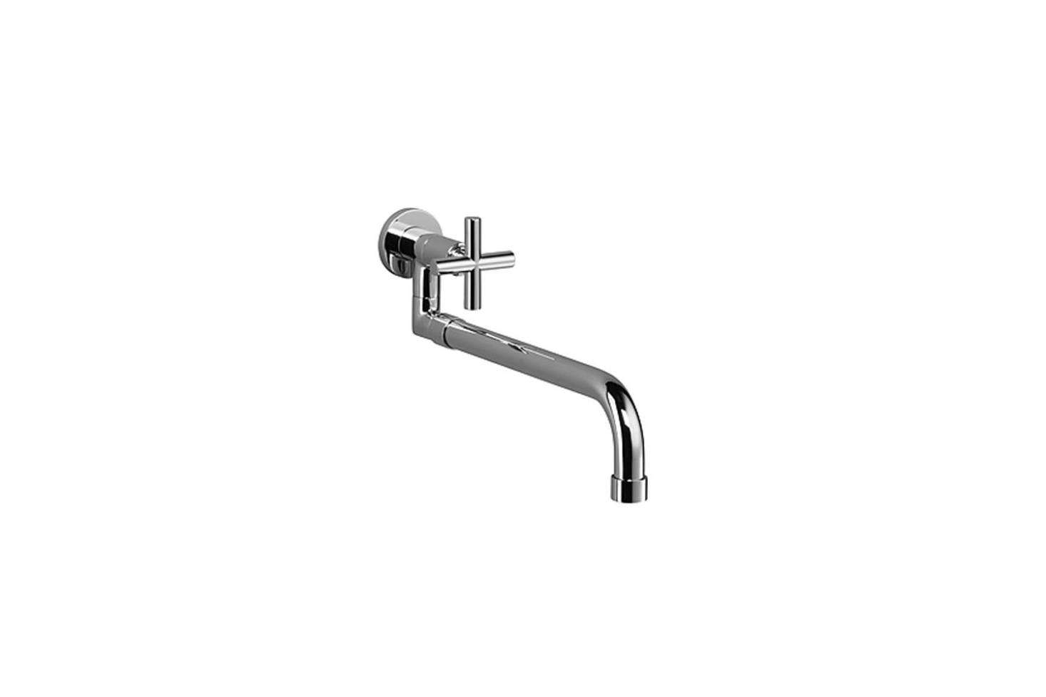 The Dornbract Tara Wall-Mounted Pot Filler with Pull-Out Spout is a low profile option. It&#8
