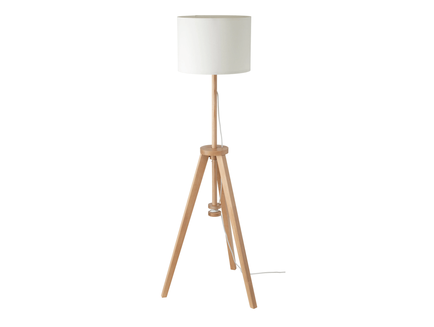 The height-adjustable Lauters Floor Lamp from Ikea has an ash base and a lampshade made of recycled PET bottles; $49.99.
