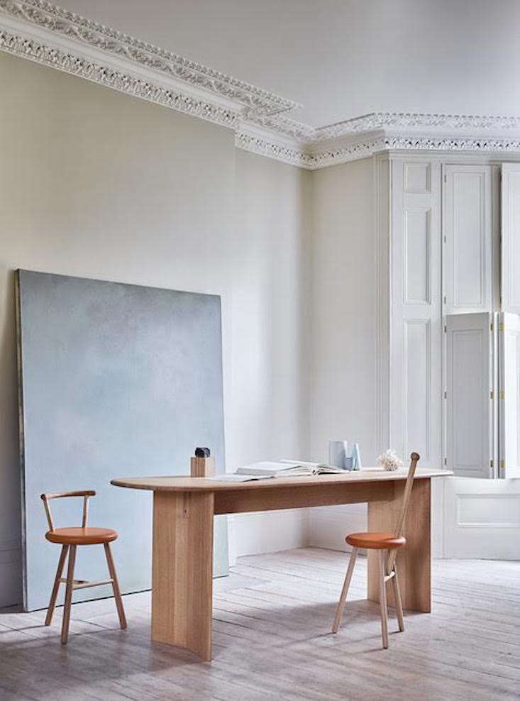 """The Portion Desk (£3,700) is made from quarter-sawn oak with """"legs made from sheets of solid oak, with a subtle break in the 'spine, ' like an openbook."""""""