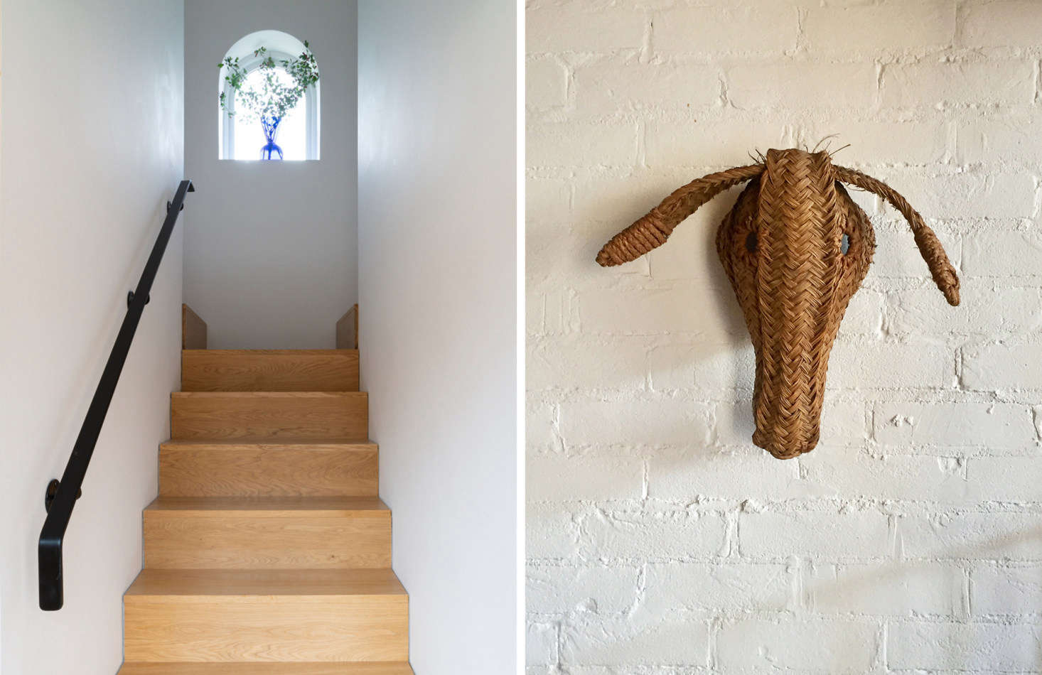 "Above L: Oak stairs in the addition lead to two bedrooms and a bath. Above R: Sandy's ""Donkey Oatey"" came from Paul's Emporium in Islington, one of her favorite London antiques haunts. Right photograph by Sandy Suffield."