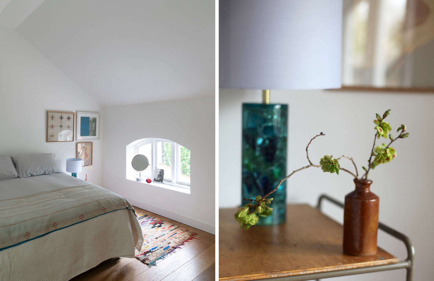 "Above L: Bedroom Two has a peaked ceiling and arched window. Above R: Sandy describes the bedside lights as ""1960s crushed ice Shatterline style."" Right photograph by Sandy Suffield."