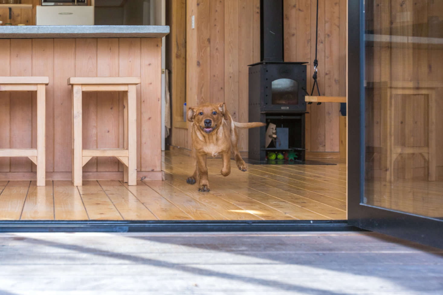 """Some of the work involved trial and error: """"we tried to use only natural products, but the first finish for the floor had to be stripped and replaced. The reality has been that oil-based products are far superior in wearability. """""""