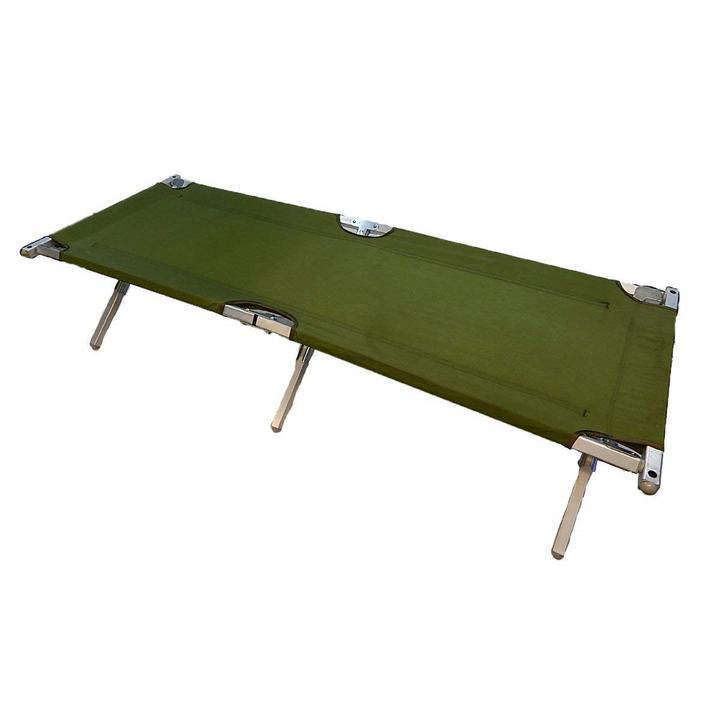 The genuine US Army-issued GI Folding Cot with Aluminum Frame is $5.99 at Maguire Army Navy.