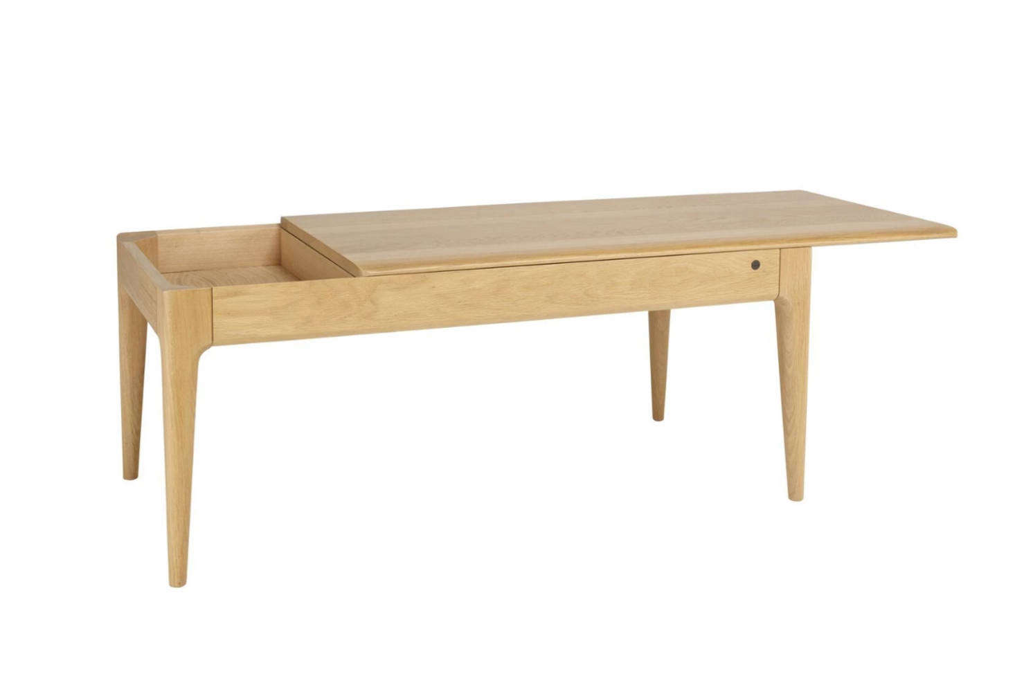 The Romana Coffee Table features a top that slides back to reveal a hidden compartment. Made in England of solid oak for $1,310 at Lekker Home.