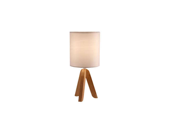 The Wooden Table Lamp with a linen shade is $39.95 at Light Accents.