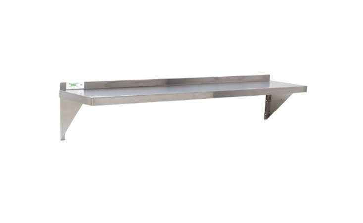 The Regency 18 Stainless Steel Wall Shelf measures 12 by 48 inches; $35.49 at WebstaurantStore.com.