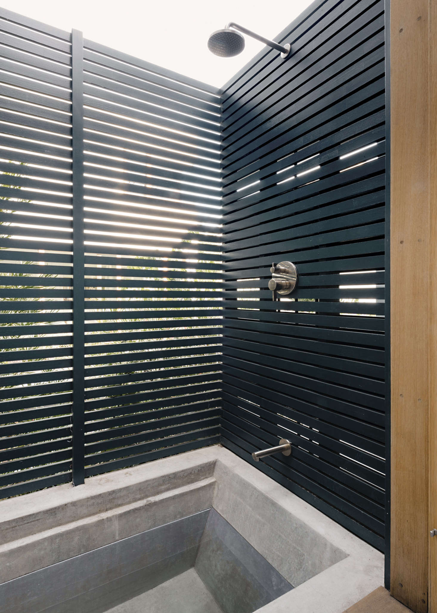 The cedar-lined outdoor shower and bath.