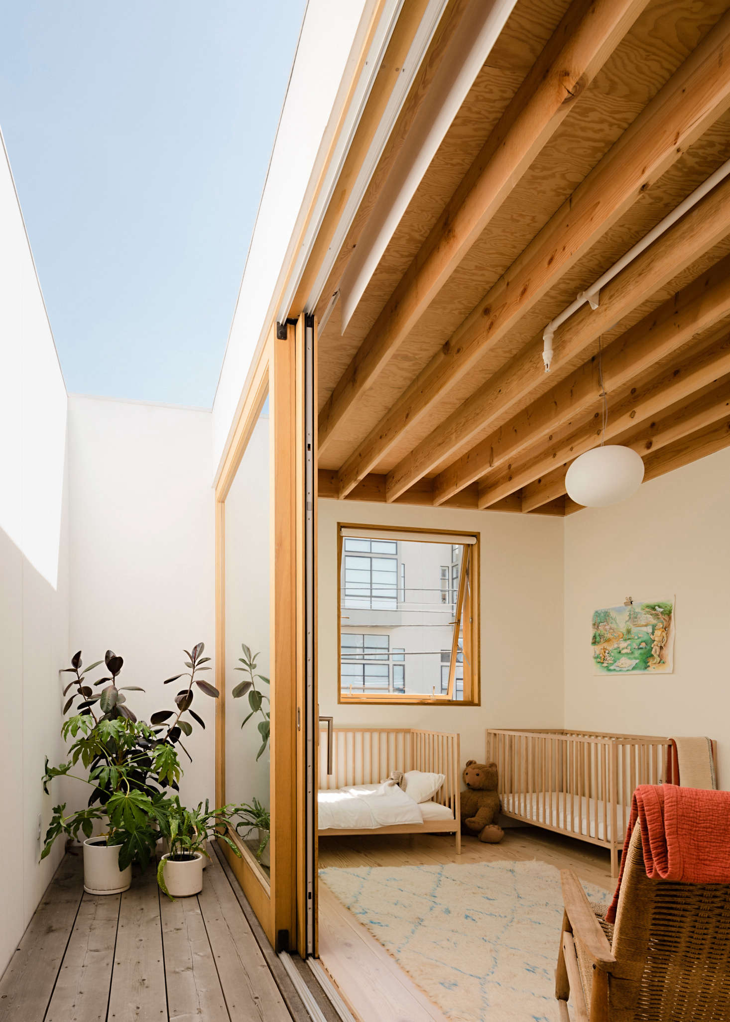 Off the nursery is a lightwell, which offers an easily accessible outdoor space and fresh air.