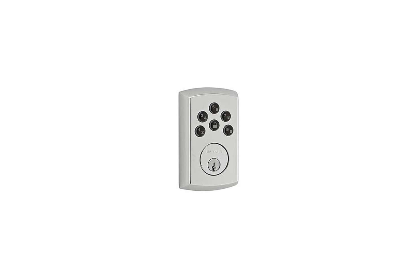 The Baldwin Soho Keyless Entry Single Cylinder Electronic Deadbolt in Polished Chrome features a keypad for the deadbolt only, to be paired with any lever. The lock allows only two different entry codes to be programmed. It&#8
