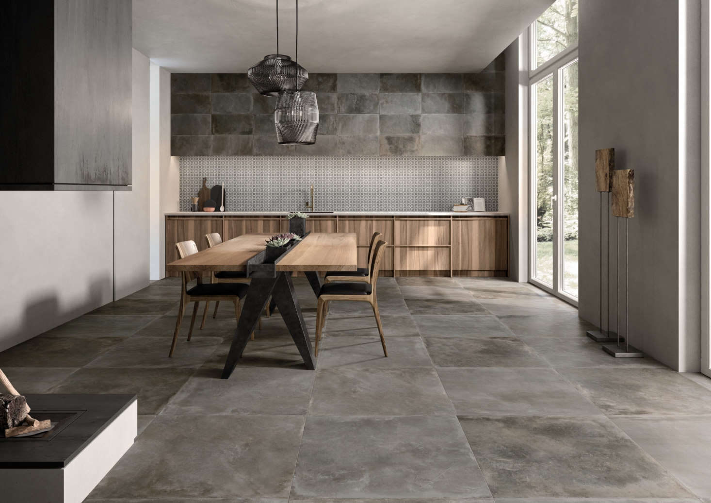 The Cocoon tile by Ricchetti has the look of a concrete floor, but is actually porcelain stoneware.