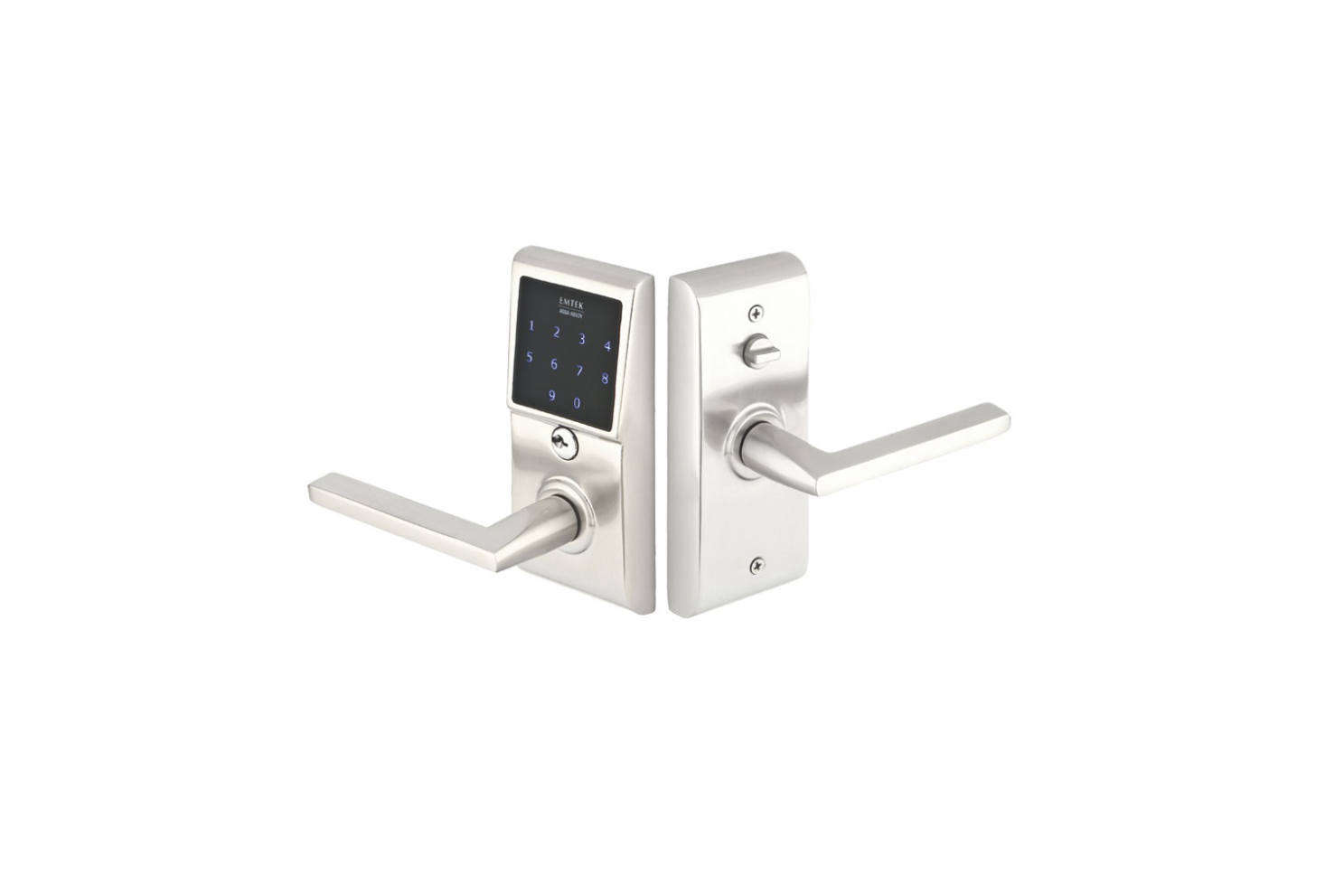 The Emtek E40 EmTeouch Passage Keyless Lever comes in Flat Black, Polished Chrome, and Satin Nickel (shown) and with a range of corresponding lever styles from Emtek; $7.39 at Direct Door Hardware.