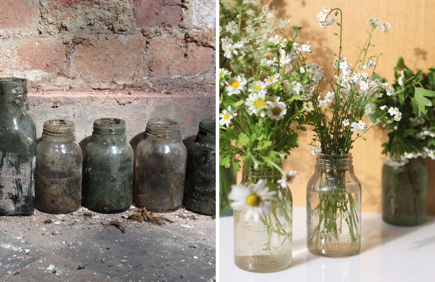 School milk bottles as found (L) and cleaned up (R). Photographs by Sandy Suffield.
