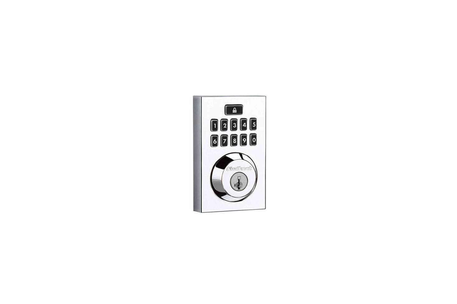 The Kwiset Smartcode 9 Contemporary Electronic Deadbolt Featuring Smartkey comes in Polished Chrome, Satin Nickel, or Venetian Bronze and can be programmed with up to  different user codes; $data-src=