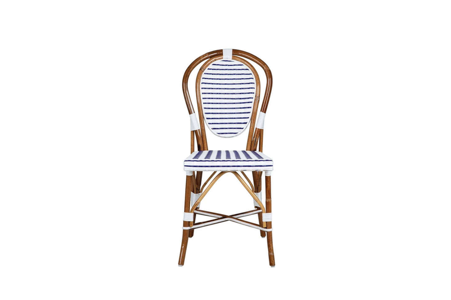 Maison Midi's White and Blue Mediterranean Bistro Chair has a classic bentwood hairpin silhouette. It's made in Italy of rattan and synthetic fiber; $295.95.