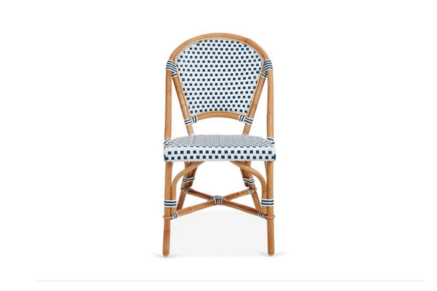 The Chloe Bistro Side Chair has a rattan frame and weatherproof cording (we like the striped banding); it's $240 from One Kings Lane, which also offers a range of other bistro chairs.