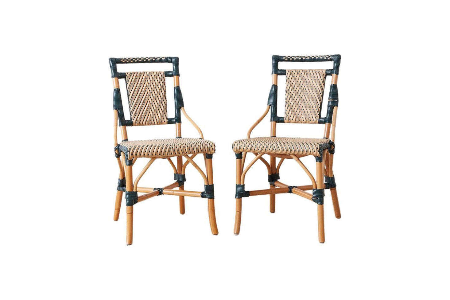 Currently available on Etsy from SF-based vintage dealer Erin Lane Estate: a pair of 1990s Palacek Bamboo Rattan Bistro Chairs; $800.