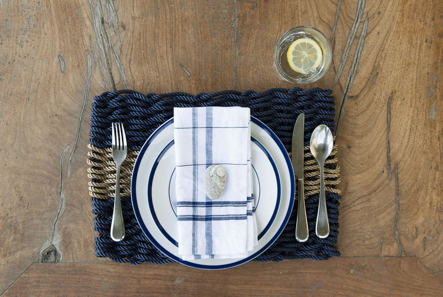The site also sells good-looking key chains and placemats—all made from the same rope that lobstermen use. A set of 4 Navy with Oak Stripe Placemats is $120 at The Rope Co.