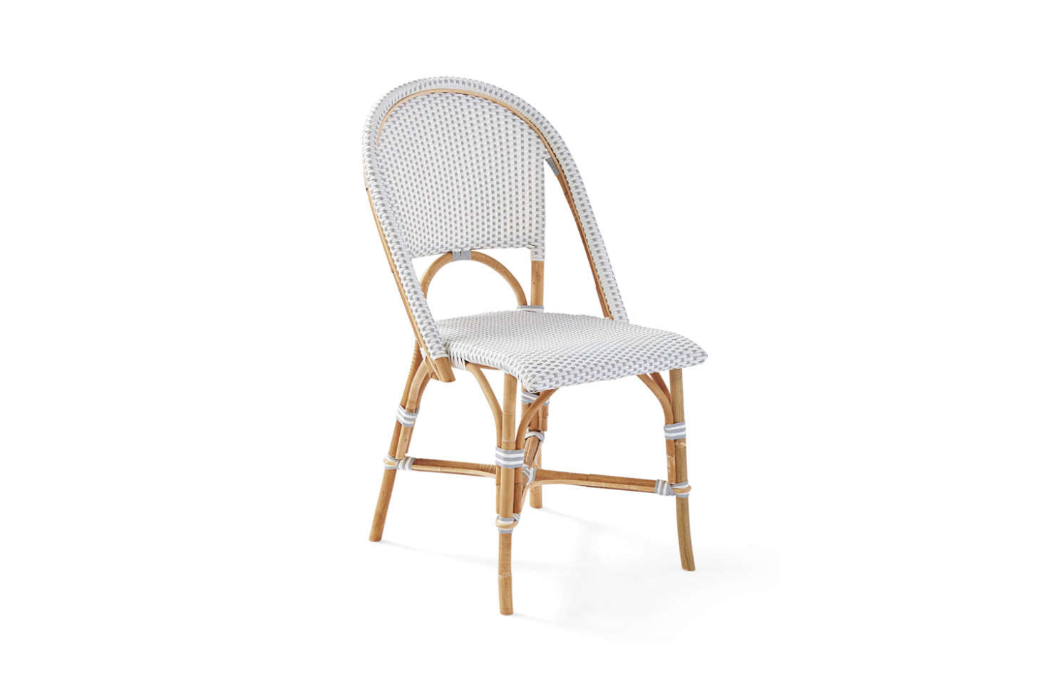 Serena & Lily offer a range of French-inspired bistro furniture, including the Riviera Side Chair, made of rattan with woven plastic seats; $248 in several color combinations. The company also offers versions made of weather-proof, powder-coated aluminum and in children's sizes, too.